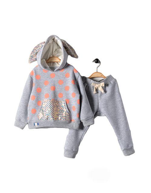 "Kompletić ""Fancy Bunny"" (Svetlo sivo/puder/šljokice)"