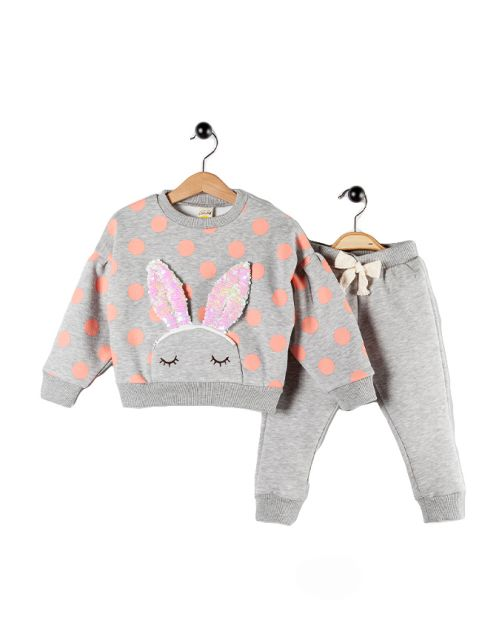 "Kompletić ""Fancy Bunny"" (Tamno sivo/Puder)"