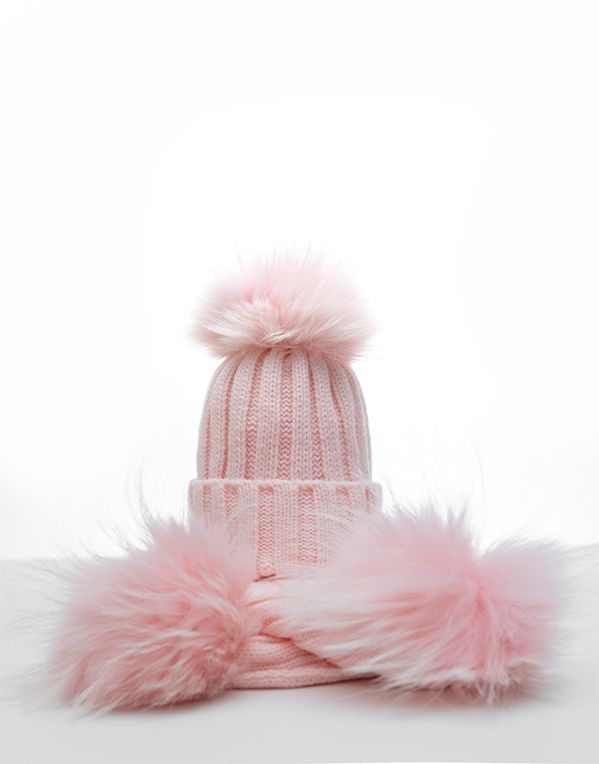 Kapica i šal Pufnasto (roze, krzno u boji)